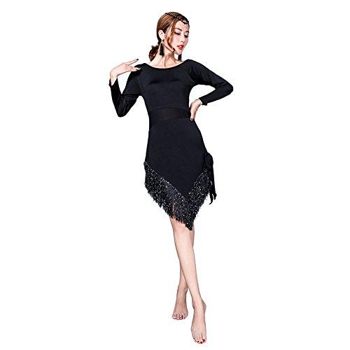 (Wanson Frauen Classic Latin Dance Dress Kostüm Stickerei Tanz Kleid Quaste Kleid Rock Dance Show Kostüm,XL)