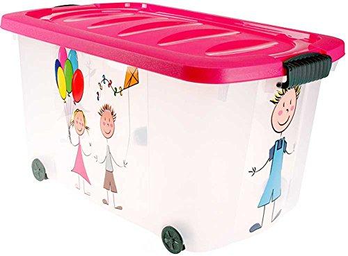 Eliware Spielzeugkiste (Multibox) mit Rollen | Kinder-Muster und pinken Deckel (Kleidungsstück Boxen)