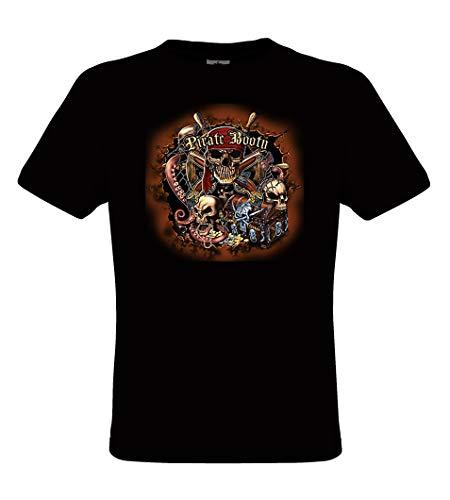 Piraten-erwachsenen T-shirt (DarkArt-Designs Pirate Booty - Piraten T-Shirt für Kinder und Erwachsene - Seeräubermotiv Shirt Fun Party&Freizeit Lifestyle Regular fit, Größe 152/164, schwarz)