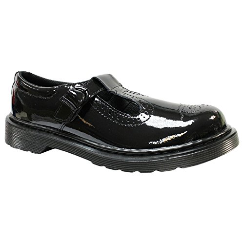 Dr. Martens Youth Polley Brogue Black Leather Shoes 38 EU Youth Black Patent Schuhe