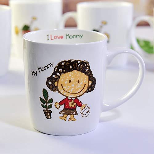Emilf kitchen bone china cup creative ceramic home mug cartoon 246 set per l'acqua (color : mommy)
