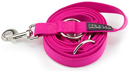 KURI PAI Pinke Hundeleine Für Große Kräftige Hunde, Mehrfach Verstellbar, 3m Leine (1,5m - 2,8m) Doppelleine (2.5cm breit, Pink), Für...