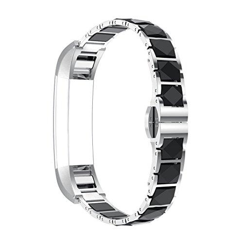 Band für Fitbit Alta HR Glitzer Kristall Keramik Uhrenarmband Smart Watch Band Edelstahl Armband Wrist Strap mit Metallschließe Ersatzarmband für Fitbit Alta/Alta HR Fitness Armband