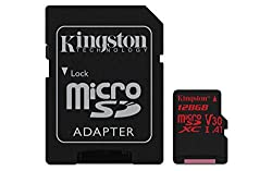 Kingston Canvas React MicroSD card -(SDCR/128 GB) class 10, with SD adapter/Ideal for shooting burst-mode photos and 4K video