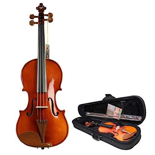 AxinStudent violino in vernice lucida abete massiccio fatto a mano violino acustico violino kit 4 corde con scatola rigida arco colofonia studente principiante 1/10_Wood