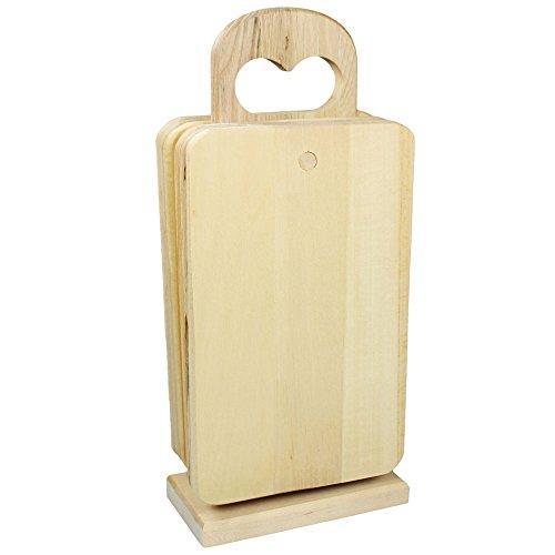COM-FOUR® 6x Schneidebrett mit Halterung aus Holz, Frühstücksbrettchen Küchenbrett Brotbrett (06 Stück mit Halter)