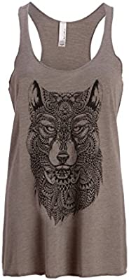 Para mujer gris lobo Boho Hippie Loose Fit Camiseta de tirantes camiseta de muscular