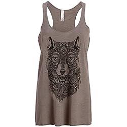 Para mujer gris lobo Boho Hippie Loose Fit Camiseta de tirantes camiseta de muscular gris gris Small