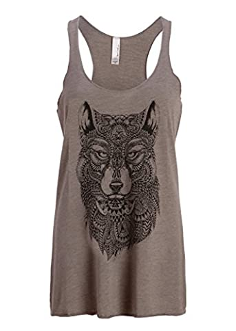 Womens Grey Wolf Boho Hippie Loose Fit Muscle Tee Tank Top – Size Large