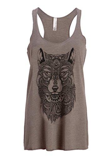 Graues Wolf Boho Bohemian Hippie Damen T-Shirt Top mit Racerback – Gr. S (Shirt Hippie Top)