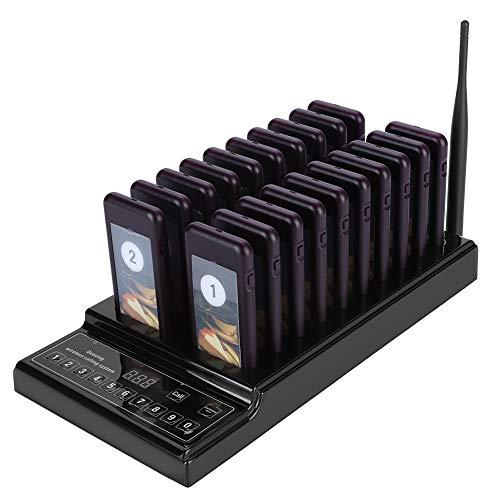 Paging-einheit (Pager System Gust Paging System Pager Rufsystem mit 20 Empfängern Pager und 1 Transmitter, 433,92MHz hoch Hochempfindlich, max. 999-Kanal für Restaurant Cafe etc(EU Plug))