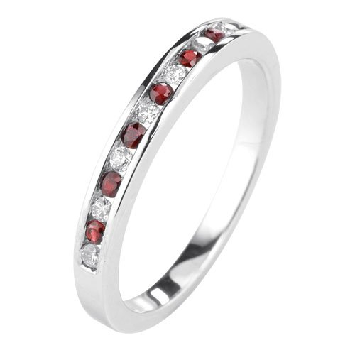 9ct oro bianco Rubino/Diamond Canale Set Anello, Oro bianco, 57 (18.1), cod. (Diamante Dei Canali Band Ring)