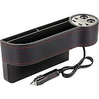 LBAFS Car Seat Storage Box, Car Charger With 2 USB Car Charging Ports Phone Pocket Car Console Gap Holder Filler Organizer