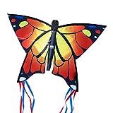 CIM Cerf-volant papillon - Butterfly ORANGE - Cerf-volant monofil pour enfants à partir de 3 ans - 58x40cm - avec ligne de 20m - avec queues courbées de 195cm