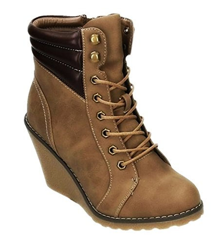 King Of Shoes Bequeme Damen Stiefeletten Keilabsatz Wedges Ankle Boots Kurzschaft Schnürstiefel 173 (38, Khaki)