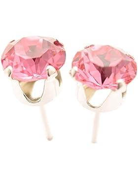 pewterhooter 925 Sterling Silber Ohrstecker Ohrringe handgefertigt mit funkelnden Rose Kristall aus SWAROVSKI®.