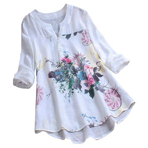 MRULIC Damen Langarm Shirt Beiläufige Lose Baumwolle Frühling Herbst Tops Solide Elegante T-Shirt Freizeithemd(A3-Weiß,EU-44/CN-2XL)
