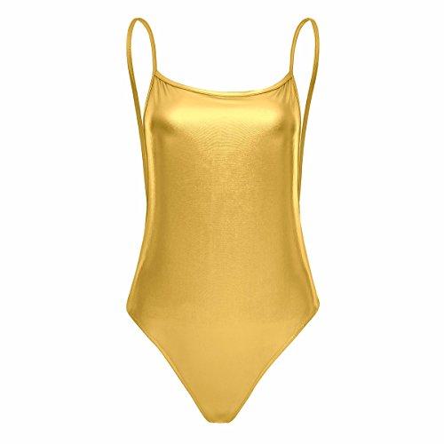 �rmellos Bodysuit einteiler Jumpsuit wetlook Lack-optik Dessous Unterwäsche Gold L (Gold Bodysuit)
