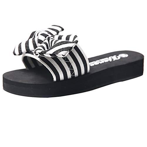 85f0a061a3 Zapatillas de Tiras para Mujer Pajarita de Verano Sandalias Planas  Zapatilla de Playa Antideslizante.