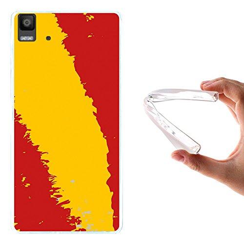Bq Aquaris E5s - E5 4G Hülle, WoowCase Handyhülle Silikon für [ Bq Aquaris E5s - E5 4G ] Spanische Flagge Handytasche Handy Cover Case Schutzhülle Flexible TPU - Transparent
