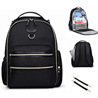 mommore Changing Backpack Bag Wash Free Internal Waterproof Large PU Leather Fashion Baby Changing Bag for Mom + Changing Mat + Pram Clips