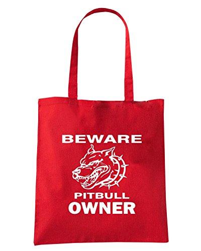 T-Shirtshock - Borsa Shopping FUN0755 beware pitbull owner t2 Rosso