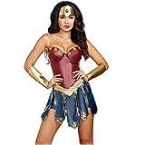 GREATCHILDREN Costume da Cosplay per Adulti Wonder Woman Costume con Copricapo e Protezione per Le Mani (L/IT 42)