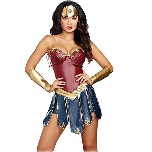 d877878b62 GREATCHILDREN Costume da Cosplay per Adulti Wonder Woman Costume con  Copricapo e Protezione per Le Mani (XL/IT 42)
