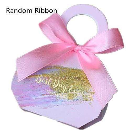 ZT TRADE Hochzeitsgeschenk Taschen Hochzeits Box Hochzeits-bevorzugungs-kästen Und Dekoration Kraftpapier Favor Boxen Bändern Brautparty Party Andenken Mit pink
