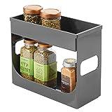 mDesign Gewürzregal für Küchenschrank – ausziehbares Küchenregal für Ordnung in der Küche – doppelstöckiges Gewürzständer mit abnehmbarer Ebene – grau