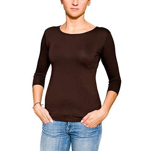 Alkato Damen Shirt 3/4 Arm Rundhalssusschnitt Stretch, Farbe: Braun, Größe: S