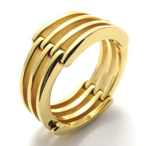 Mode Edelstahl 18K Gold Vergoldetl Transform Herren-Ringe Größe 67 (21.3) -- von Aooaz Schmuck