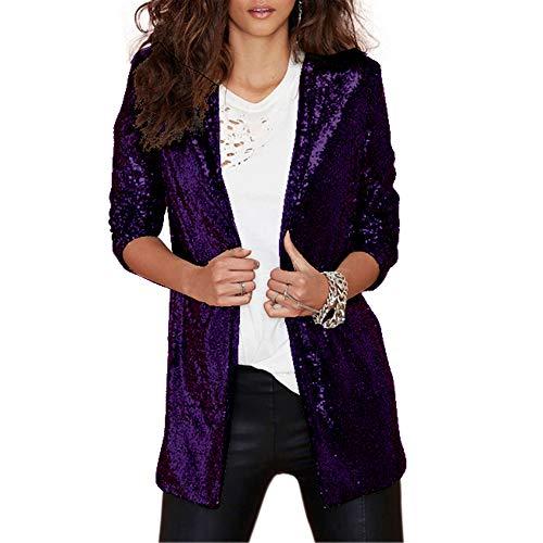Petite Tweed (Vero Viva Damen Funkel-Blazer mit Pailletten vorne offener Jacke Mantel Langarm Midi Blazer - violett - Small)
