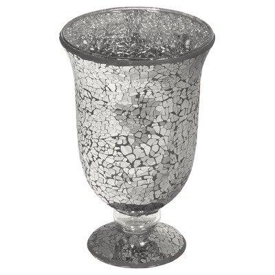Mosaic Glass Hurricane Vase, Black, Small, 24 x 15 cm