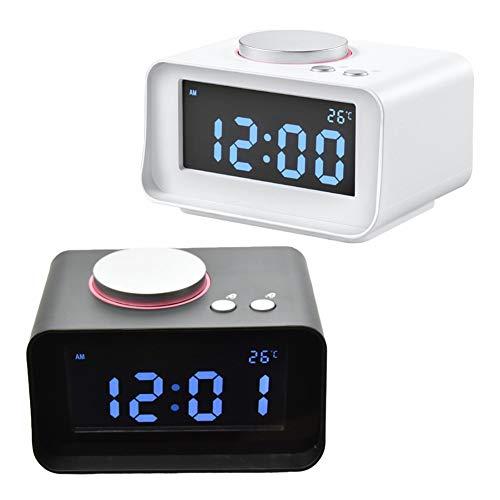 Xiaoqingren Digitaler Wecker Fm Radio Lauter Wecker für schwere Dual-USB-Lade-Ports Home Decoration,Weiß (Batteriebetrieben Duale Wecker)