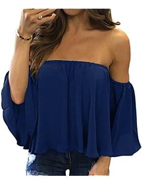 Verano Mujer Casual Colores Lisos Gasa Blusas Camisetas Remata Sexy Fría Hombro Backless T-Shirt Tops Moda Media...