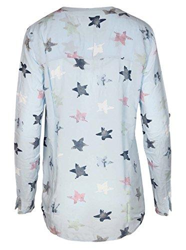 Zwillingsherz Bluse mit Stern Muster - Hochwertiges Oberteil für Damen Mädchen - Langarmshirt Top - T-Shirt - Pullover - Sweatshirt - Hemd für Sommer Herbst und Winter von Cashmere Dreams Hellblau