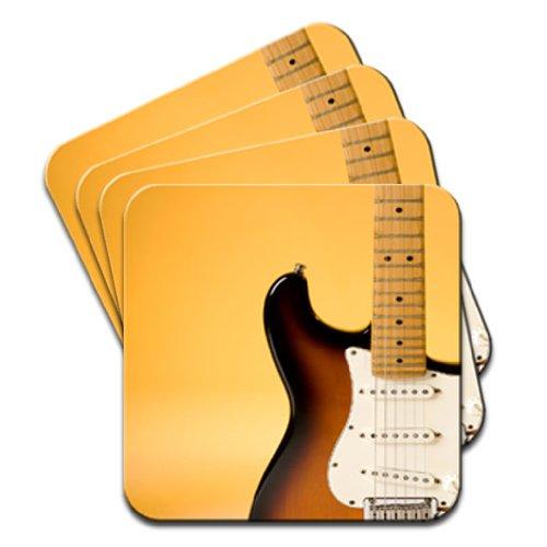 details-pour-guitare-electrique-avec-eclairage-orange-lot-de-4-dessous-de-verre