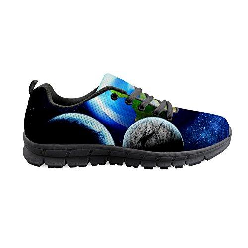 AXGM Herren Laufschuhe Turnschuhe Straßenlaufschuhe Schuhe Universum Galaxie Planeten Druck Mode Sportschuhe Fitness Atmungsaktiv Sneakers Blaue Erde CC31 EU 45 (Universum Turnschuhe)