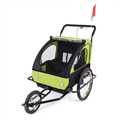 SAMAX Fahrradanhänger Jogger 2in1 Kinderanhänger Kinderfahrradanhänger Transportwagen gefederte Hinterachse für 2 Kinder in Grün/Schwarz neu – Black Frame - 5