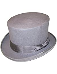 VIZ Size XLarge Grey 100% Wool Hand Made 5 1/2 Tall Felt Top Hat