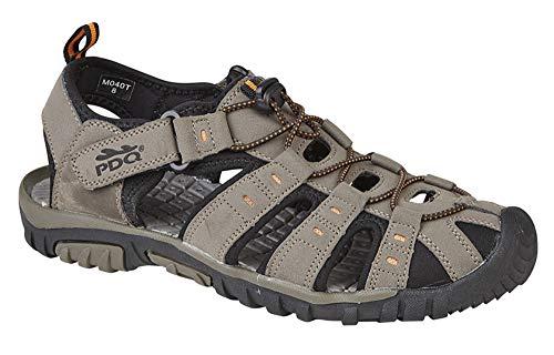 Pdq - sandali sportivi da uomo con chiusura toggle & touch, beige (dark taupe/orange), 42.5