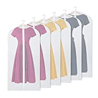 Univivi Garment Bags for Storage and Travel, Anti-Moth Protector, Foldable for Dress Dance Costumes Suits Gowns Coats (6 Pack 60cm*121cm)