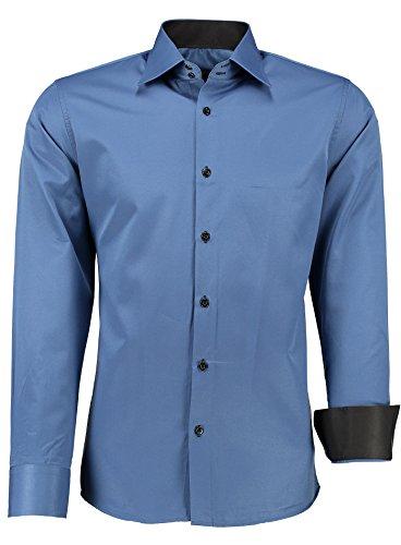 crom Herren-Hemd – Slim Fit – Bügelleicht – Für Business Freizeit Hochzeit navyblau - L