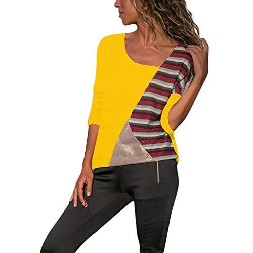 (Mymyguoe Frauen Patchwork Pullover O Ausschnitt Splicing Farbe Kollision Lange Ärmel Plus Size Einfache Tops Bluse Lose Tunika Top Oversized T-Shirt Sweatshirt)