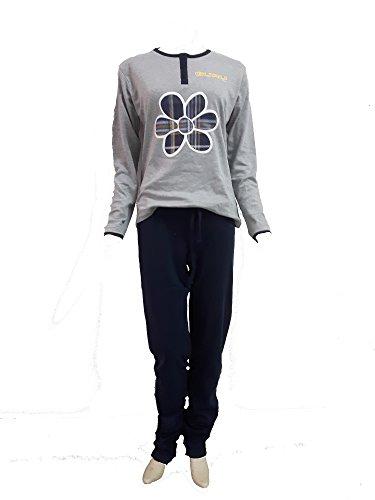 pigiama donna GURU caldo cotone interlock manica lunga art.2791 Grigio