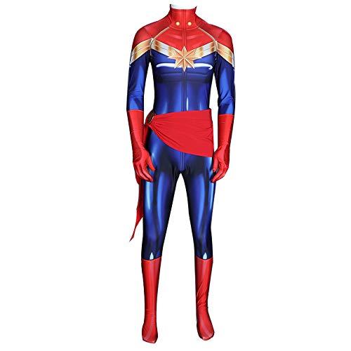 DFRTYE Erwachsene Überraschungskapitän Mädchen Halloween Superheld Hochwertiges Lycra Kostüm Overall 3D Print Spiel-Anim Cosplay Body,Women-XXXL