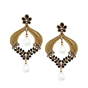 Bindhani Cz Stone Chandbali Gold-Plated Dangle & Drop Earrings For Girls