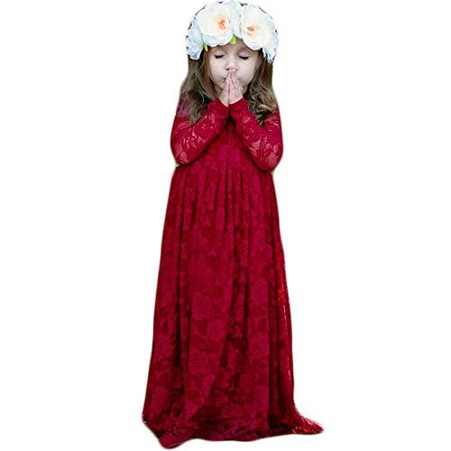 CQDY Prinzessin Spitzenkleid für Mädchen Weiß Hochzeit Blumen Kleid Partykleid mit großen Bogen