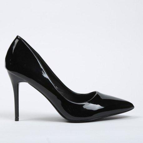 Ideal Shoes - Escarpins colorés et vernis Soana Noir
